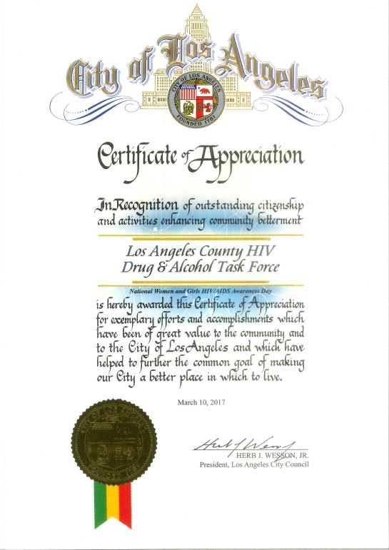 wesson certificate HIV DATF