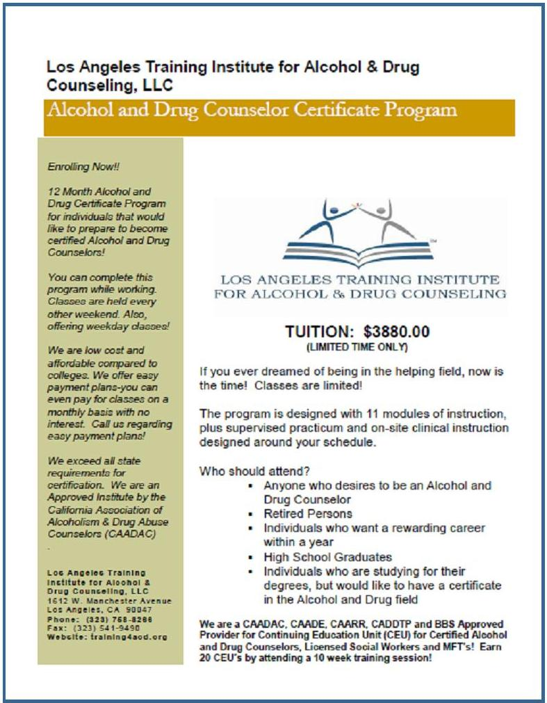 Substance Abuse Counselors Who Need Certification Los Angeles