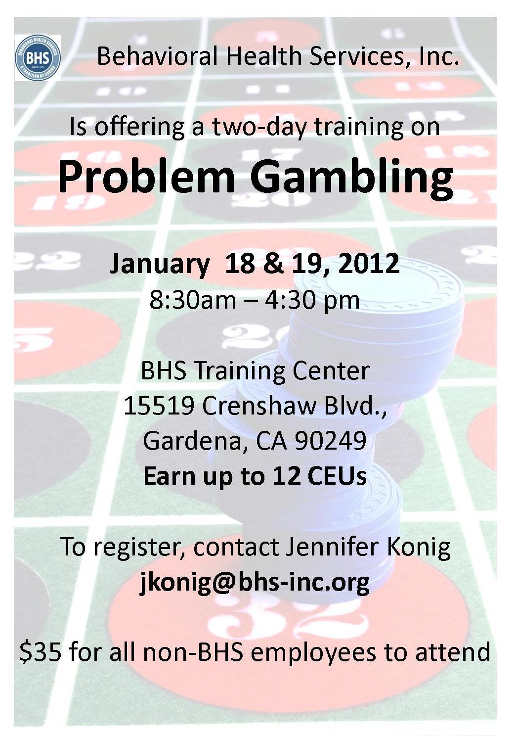 Gambling addiction certificate
