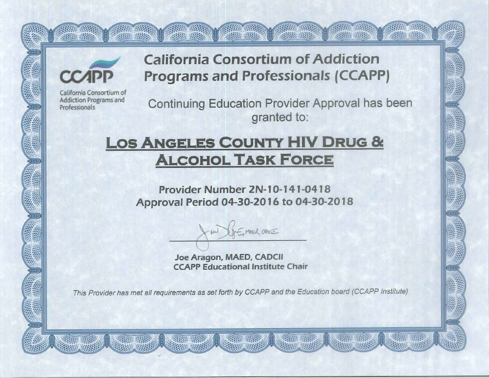 Trainings Los Angeles County Hiv Drug Alcohol Task Force