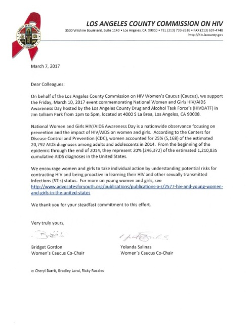 Letter from COH in Support of Women's Awareness Day